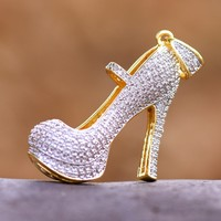 High Heels Pendant Ladies Shoes Pumps Simulated Diamonds Red Base 18K Gold Plate