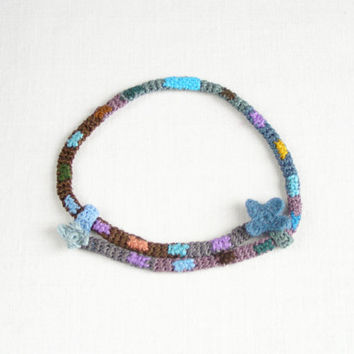 Textile Necklace - teal blue gray -  fiber art choker  -  textile jewelry