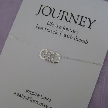 Best Friend Necklace // Friendship Jewelry // 3 BEST FRIENDS Necklace - Inspirational Jewelry Sterling Silver - Simple