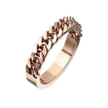 Chain Of Love In Rose Gold - Unisex Rose Gold IP Stainless Steel Half Circular Chain Ring