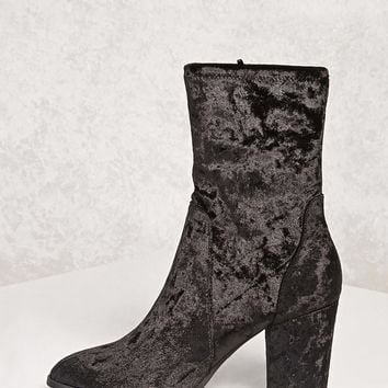 Crushed Velvet Sock Boots