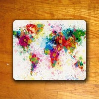 Art Artist Colorful Watercolor ATLAS MAP Mouse PAD Mousepad by Xongdesign