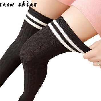 snowshine #4503 College Wind Thigh High Socks Over The Knee Girls Womens free shipping