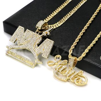 Iced out NBA Never Broke Again / Hustle Pendant W/Cuban and Rope Chain Set
