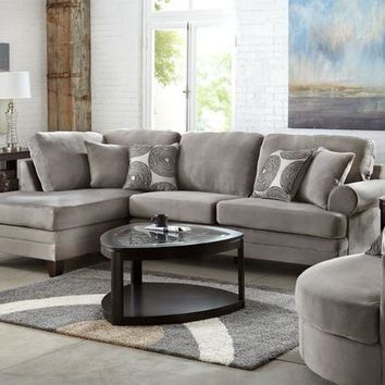 Zoey 2 Pc. Grey Sectional (Reverse)