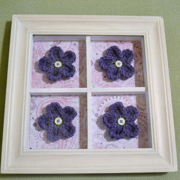 Shadow Box Frame with Crochet Flowers White Purple Pink Upcycle Recycle  Handmade Littlestsister