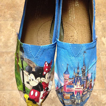 Walt Disney- Ready for DisneyWorld/ Disneyland- Disney Gift- Hand-Painted A&A Shoes