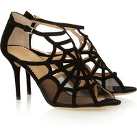 CHARLOTTE OLYMPIA Lotte cutout suede and mesh sandals
