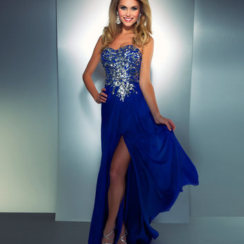 Mac Duggal Prom 2013 - Strapless Royal Blue Sequin Dress - Unique Vintage - Cocktail, Pinup, Holiday & Prom Dresses.