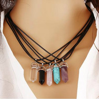 Leather Necklace with Agate