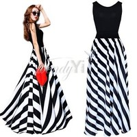 Sexy Women Boho Striped Long Maxi Evening Cocktail Party Chiffon Vintage Dress
