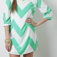 Mint Bold Chevron Dress - FREE GIFT W PURCHASE