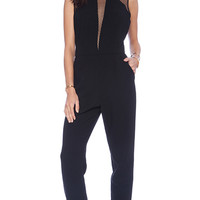 BCBGeneration Sheer Yoke Jumpsuit in Black