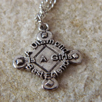 A Diamond is a Girls Bestfriend Softball Necklace