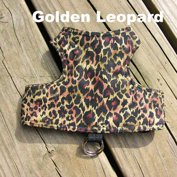 SafetyKatz Walking Jacket Golden Leopard Print ; Custom Made Cat Reversible Harness Vest Collar Kitten Kitty