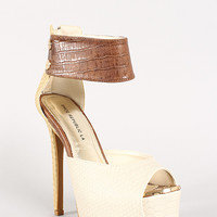 Shoe Republic Misstress Color Block Snake Peep Toe Platform Heel