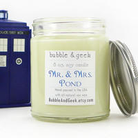 Mr. and Mrs. Pond Scented Soy Candle Jar - tea, ginger - Doctor Who