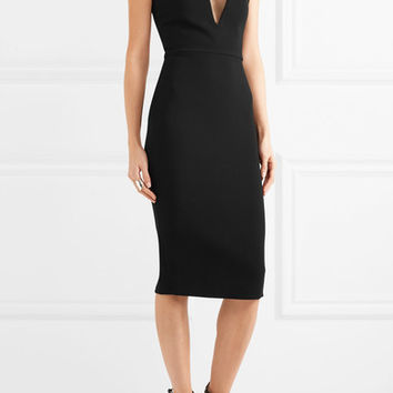 Victoria Beckham - Mesh-paneled crepe dress