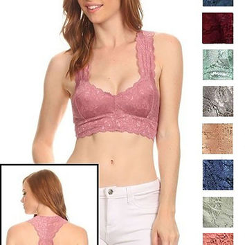 Sexy Lined Lace Scalloped Edge Racerback Sweetheart Neckline Bralette Bra Top