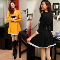 Fashion Korea Women's Long Sleeve Cotton Dress Mini Lace Dress Bodycon Slim Halter Dress = 1704248900