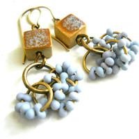 Beaded Dangle Earrings, Powder Blue Glass Peanut Beads, Elaine Ray Ceramic, Brass, Boho, Summer Fashion, Beach