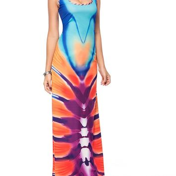 Casual Scoop Neck Back Hole Unique Printed Maxi Dress