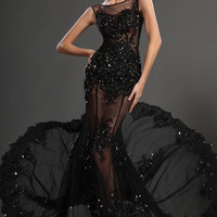 2016 Long Elegant Prom Dresses Black Jewel Beading Crystal Sleeveless Mermaid Sheer Backless Sexy Tulle Evening Gowns
