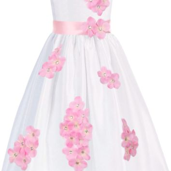 Pink Dimensional Gem Beaded Flowers on White Shantung Occasion Dress (Girls Sizes 2T - 14)