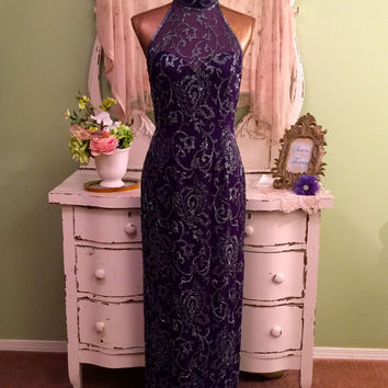 Decadent Purple Beaded Dress, Oleg Cassini Gown, Long Ornate Dress, Elegant Open back, High Fashion, Black Tie Dress, Special Occasion, 8 M