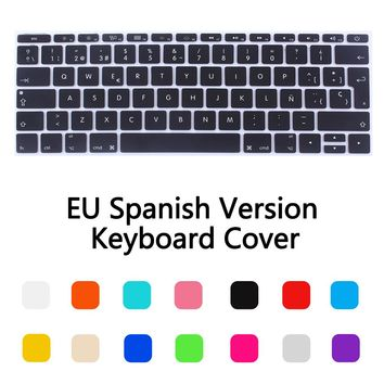 12 inch Silicone Spanish Waterproof Keyboard Cover For New Macbook 12 Retina /New Pro 13 with Retina A1708 keyboard Film Sticker