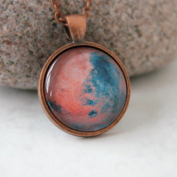 Mars Necklace, Galaxy Pendant, Antique Copper Pendant,Glass Cabochon Pendant With Chain