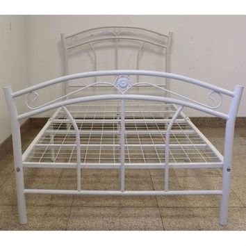 Twin Size Metal Platform Bed With Headboard & Footboard In White