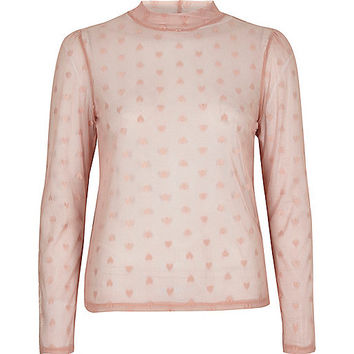 Light pink love heart mesh top