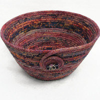 Coiled Fabric Bowl, Basket, Autumn Colors