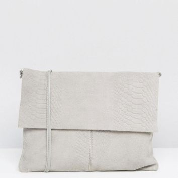 ASOS | ASOS Unlined Soft Suede Snake Embossed Cross Body Bag at ASOS