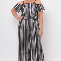 Plus Size Accordion Pleat Multi Stripe Pants - Black/White