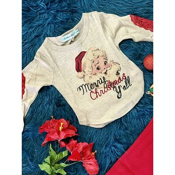 New Southern Grace Girls Merry Christmas Yall Vintage Santa On Tan Sweater With Red Lace Elbow Patch