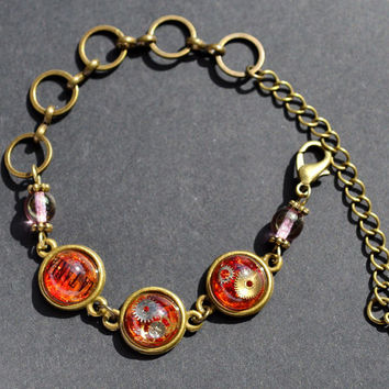 Red Steampunk Inspired Bracelet, Watch Parts Bracelet, Gears and Ryukyu Glasses in Small Resin Domes, Glass Beads Bracelet