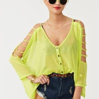 Cutout Chiffon Top - Lime