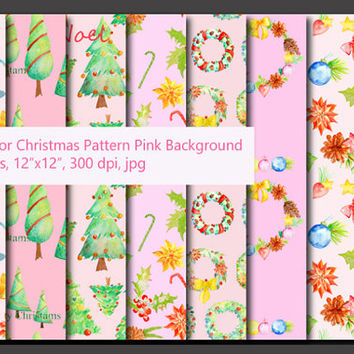 Watercolor Christmas pattern pink theme digital background instant download
