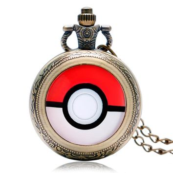 Hot Monster Anime Cosplay Pocket Watch Chain Men Boy Cool Quartz Pendant Watches Necklace Men  Ball Hot Game Full Hunter Vintage