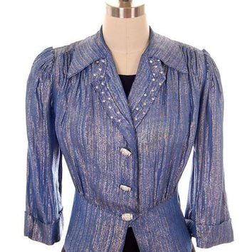 Vintage Evening Jacket Ladies 1940s Metallic Ice Blue Rhinestone Buttons L
