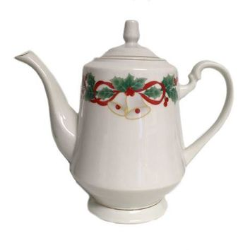 Sango Porcelain Holiday Tea Coffee Pot Pitcher Noel Christmas Bells Holiday
