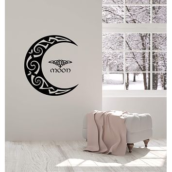 Vinyl Wall Decal Celtic Moon Ornament Crescent Bedroom Home Interior Stickers Mural (ig5486)
