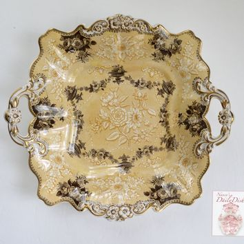 Circa 1835 Rare Yellow Two Color Transferware Handled Serving Tray Plate Bon Bon Dish Etruscan Festoon Ridgway