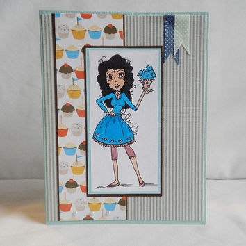 Birthday Card, Paper Handmade Greeting Card, Cupcakes and Attitude, For Girls, Turqoise