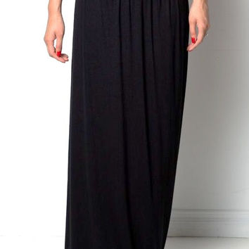 Maxi Skirt Foldover Adjustable Soft Waistband Long Skirts Black