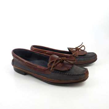 Cole Haan Moccasins Vintage 1980s Navy Blue Brown Leather Oxford Boat Shoes women's size 9