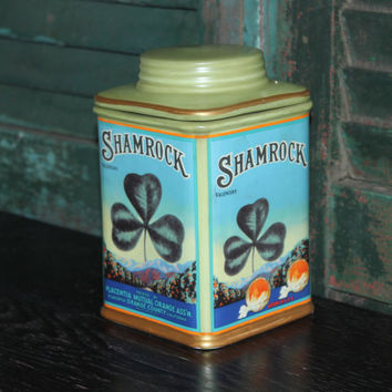 Oneida Vintage Label Collection Shamrock Valencia Canister with Lid, kitchen storage, cookie jar, vintage kitchen, Irish decor