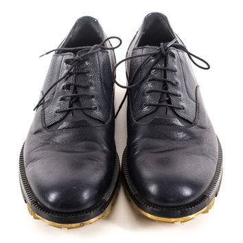 Black leather two tone lace up loafers size:8